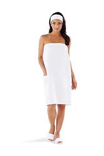 Boca Terry Women's Spa Wrap - Cotton Poly Waffle Spa, Gym and Bath Towel - 4XL ()