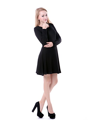 HDE Women's Casual Cotton Jersey Knit Long Sleeve Slip-On Mini Skater Dress (Black, XXL)