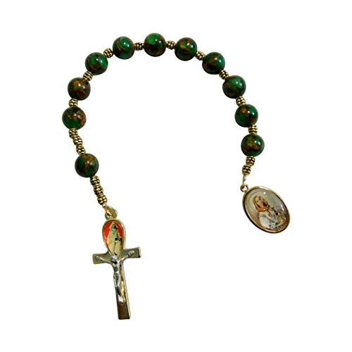 - Saint Dymphna Patron Saint of Alzheimer and Mental Illness Chaplet Pocket Purse Bag Small One Decade Rosary Crystal Round Camouflage Beads and Gold Plated Findings Includes a Blessed Prayer Card
