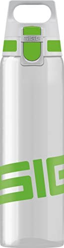 SIGG Total Clear Water Bottle (0.75 L), Green, Convenient ONE Touch Leak-Proof Lid, Lightweight Tritan Water B