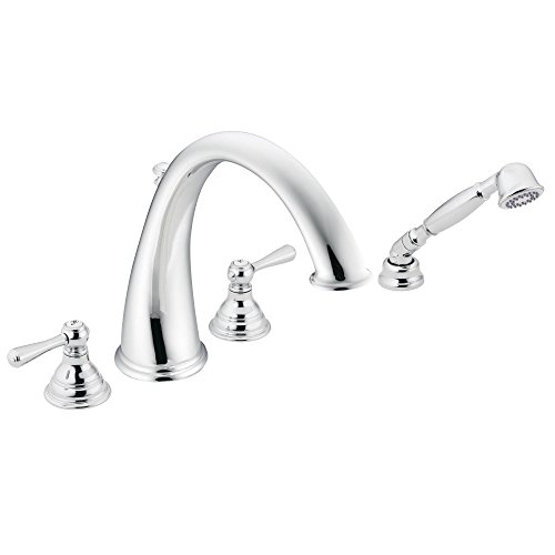 Moen T922 Kingsley Two-Handle Deck Mount Roman Tub Faucet Trim Kit without Valve, Including Single Function Handshower, , Chrome ()