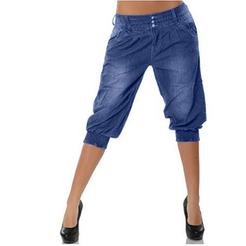 Crepe Petite Cropped Pants - JOFOW Womens Midi Shorts Jeans Low Waist Loose Harem Elastic Band Washed Comfy Straight Leg Denim Knee Length Pants (2XL =US:12-14,Blue)