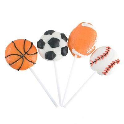 "2"" Sports Ball Lollipops - Pack of 12 Assorted Fruit-Flavored Candy Suckers for Party Favors, Cake Decorations, Novelty Supplies or Treats for Halloween, Christmas, Baby Showers by Kidsco ()"