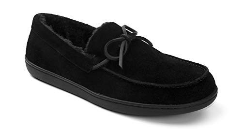 Vionic Mens Irving Adler Slipper with Durable Rubber Sole - Faux Shearling Moccasins with Concealed Orthotic Arch Support
