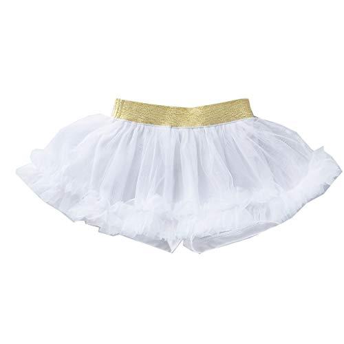 Kstare Baby Girls Dance Elastic Tutu Skirt Pettiskirt Ballet Fancy Costume Puffy Soft Tulle Skirt White ()