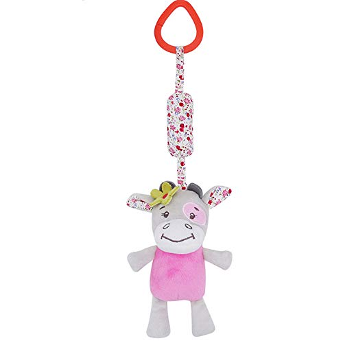 Stroller Toy Animal Wind Chimes Toy Hanging Bell Toy Bed Hanging Plush Doll Hanging Rattle Toy for Newborn Baby Toddlers Infants (Pink Cow Bell) ()
