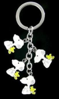 Snoopy & Woodstock Metal Charm Keychain 4 in 1
