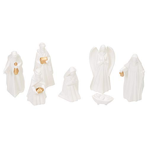 Mark Feldstein White Porcelain 7 PC Hand Painted Miniature Christmas Nativity Set, Boxed ()