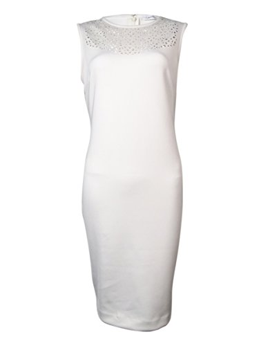 Calvin Klein White Laser-Cut-Out Scuba Dress Women's Sheath White Ivory (Laser Cut Out Dress)
