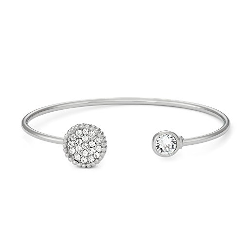 Collection Bijoux Rhodium Plated Pave Crystals Circle Bangle Bracelet, Made with Swarovski Crystals