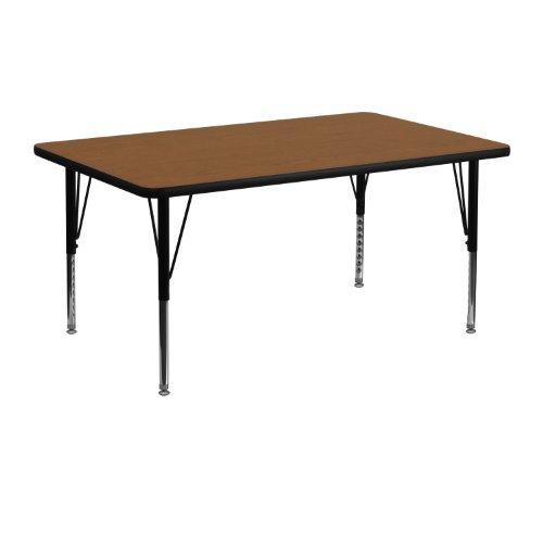 48' Rectangle Activity Table - Flash Furniture 24''W x 48''L Rectangular Oak HP Laminate Activity Table - Height Adjustable Short Legs
