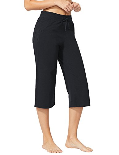 Baleaf Women's Active Yoga Lounge Capri Pants with Pockets Black Size XL (Pant Drawstring Crop)
