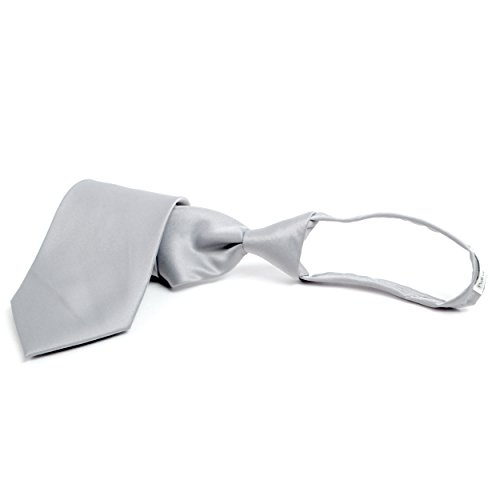 Stylish Solid Color Plain Zipper Tie (Gray) ()