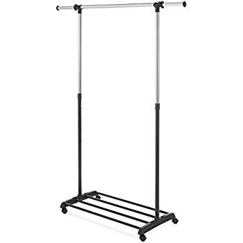 Whitmor Deluxe Adjustable Garment Rack Black U0026 Chrome With Wheels