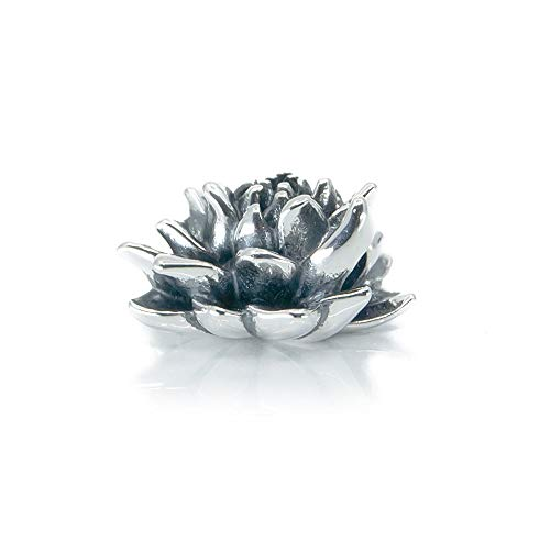 Blooming Lotus Flower, Lotus Flower Blossom Sterling Silver Charm Bead S925, Hawaiian tropical Lotus Flower Pendant, Spiritual Charm Yoga Buddhism, Water Lily Lilies Jewellery, Pandora compatible