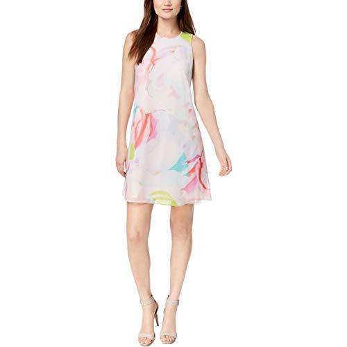 Calvin Klein Womens Petites Chiffon Floral Print Party Dress Pink 6P