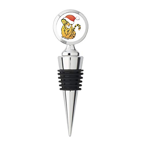 - Cute Baby Tiger with Santa Hat Cartoon Icon Steel Bottle Stopper Winestopper