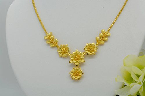 Gorgeous 22k 23k 24k Yellow Gold Plated Women Gorgeous Flower Drop Choker Pendant Necklace 17
