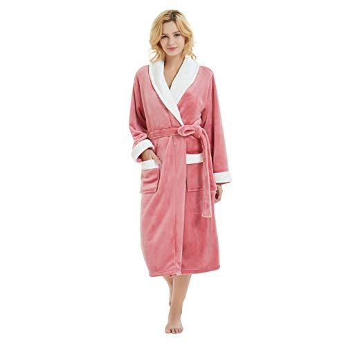 - M&M Mymoon Womens Fleece Robe Long Soft Plush Winter Bathrobe Shawl Collar Homewear (S/M, Coral Pink/White)