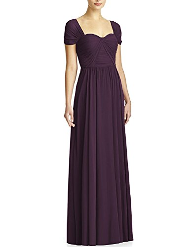 OYISHA Women's Long Bridesmaid Dresses Cap Sleeve Pleated Evening Dress BD44 Grape 24W