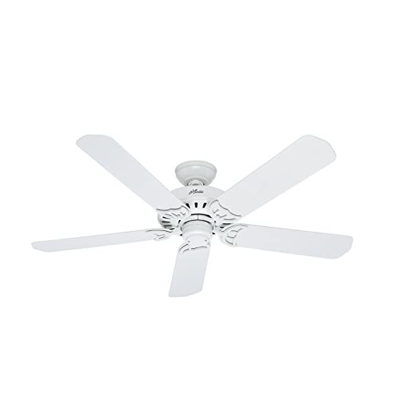"""Hunter Indoor / Outdoor Ceiling Fan, with pull chain control - Bridgeport 52 inch, White, 53125 1 <p>The bridgeport outdoor can turn a back porch into a breezeway with the flip of a switch. Etl damp listed for outdoor use in covered porches, patios, and sunrooms, this traditional Fan has a relaxed, comfortable style. White finish and 5 white plastic blades resist the elements. Three speeds let you set your breeze to suit your weather. Powered by a high performance, whisper wind motor it delivers ultra powerful air movement with whisper quiet performance so you get the cooling power you want, without the noise you don't. WhisperWind motor delivers ultra powerful air movement with whisper quiet performance so you get the cooling power you want without the noise you don't Reversible motor allows you to change the direction of your fan from downdraft mode during the summer to updraft mode during the winter 5 White Plastic blades included 13 degree blade pitch optimized to ensure ideal air movement and peak performance 3"""" and 2"""" downrods included to ensure proper distance from the ceiling and optimize air movement at your preferred blade height ETL Damp rated for use in covered porches, patios and sunrooms Installer's Choice three position mounting system allows for standard, low or angled mounting Included pull chain allows for quick and easy on/off and speed adjustments</p>"""