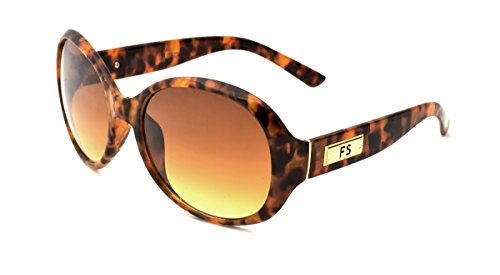 Franco Sarto Women's Oval Sunglasses, Tokyo Tortoise Paper Transfer Frame, APG Brown Flash Mirror Lens, - Franco Sunglasses