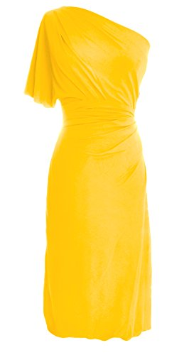 MACloth Women One Shoulder Jersey Cocktail Dress Short Wedding Party Formal Gown Amarillo