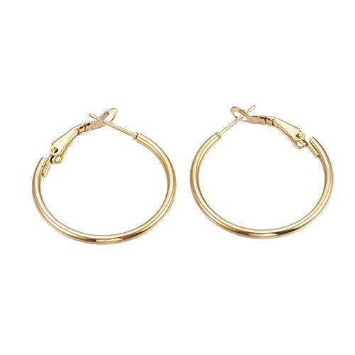 PH PandaHall 20 Pairs 30mm Stainless Steel Hoop Earrings Gold Plated Round Tube Hoop Earrings Cute Huggie Earrings for Women Girls