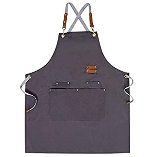 Chef Apron,Cross Back Apron for Men Women with Adjustable Straps and Large Pockets,Canvas,M-XXL (Grey)