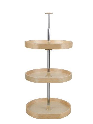 D-Shape LD Banded Wood 3 Shelf Corner Lazy Susans - LD-4BW-263-2036-1 - 20'' Diameter - Natural