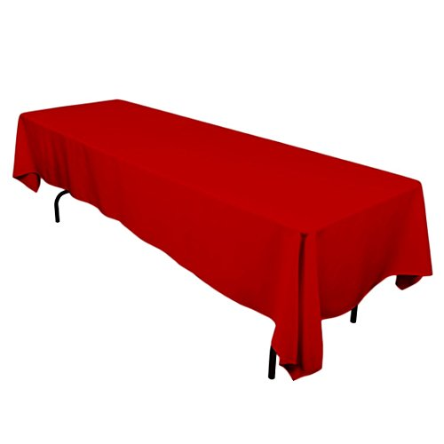 LinenTablecloth 60 x 126-Inch Rectangular Polyester Tablecloth Red