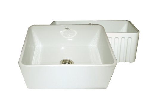 Whitehaus WHFLPLN2418 24-Inch Reversible Series Fireclay Sink with Smooth Front Apron One Side andFluted Front Apron on Opposite Side