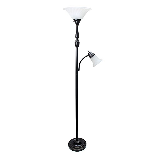 Elegant Designs LF2003-RBZ 2 Light Mother Daughter Floor Lamp with White Marble Glass,Restoration Bronze