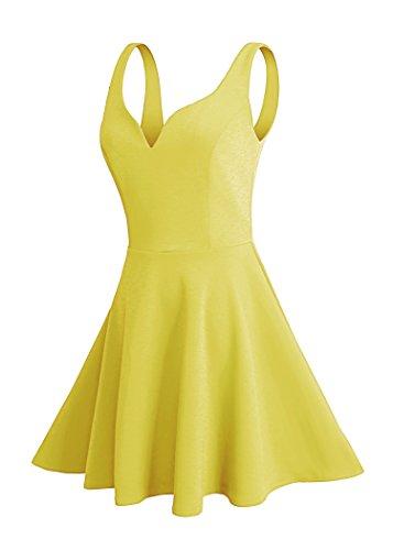 Missufe Women's Sleeveless Sweetheart Flared Mini Dress (XS, Yellow)