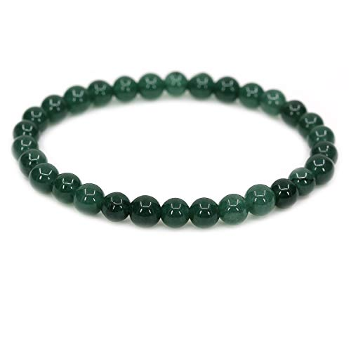 "Natural Granite Jade Gemstone 6mm Round Beads Stretch Bracelet 7"" Unisex"