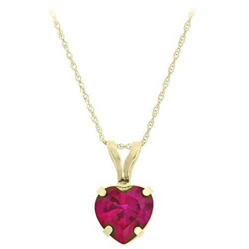""".90 cttw Heart 6MM Red Ruby 10K Pendant 18"""" Yellow Gold Filled Chain"""