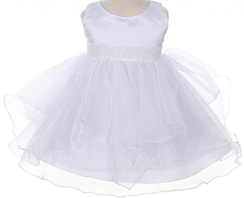 AkiDress Simple Satin Round Neck Sleeveless Organza Layered Baby Dress White S - XXXL