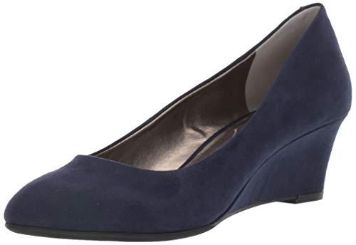 Bandolino Womens Fayola Wedge Heel Navy Suede 10.5 M