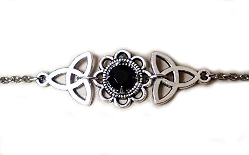Moon Maiden Jewelry Celtic Triquetra Trinity Knot Headpiece Black ()
