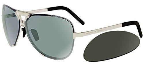 Porsche Design Mens Palladium Sunglasses P8678 D Interchangeable ()