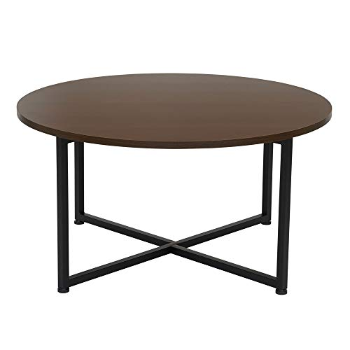 Household Essentials Round Walnut Brown Coffee Table