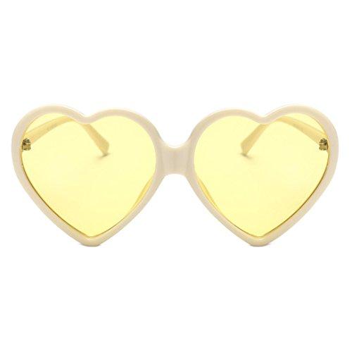 Mujer Forma de con Corazón Marrón para Sol amarillo de Unisex integradas Gafas Hunpta wAXvq4n