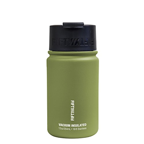 Fifty/Fifty 12oz, Double Wall Vacuum Insulated Café Water Bottle, Stainless Steel, Flip Cap w/ Wide Mouth, Olive Drab, 12oz/354ml