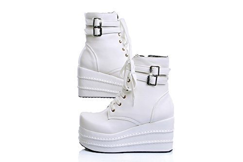 AmoonyFashion Womens Soft Material Closed Round Toe Solid Boots with Adornment White Sul1Q