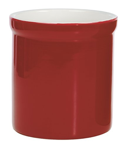 Progressive- Prepworks Ceramic Tool Crock - Utensil Kitchen Organizer - Red Fiesta Utensil Crock