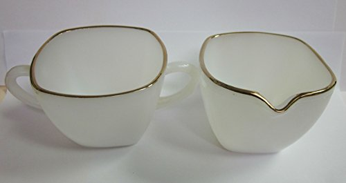 Vintage Fire King Milk Glass with Gold Accents Creamer and Sugar Set