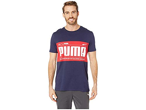 (PUMA Men's Graphic Logo Block Tee Peacoat XX-Large)