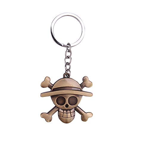 Raleighsee One Piece Anime Bronze Skull Logo Pendant Metal Keychain Novelty Zinc Alloy Key Ring Bag Accessory Unisex Anime Fans Gift
