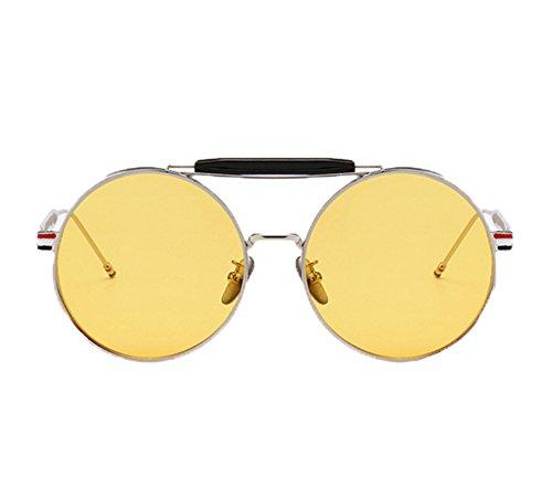 Gafas los del UV400 Plata sol vintage de marco de vidrios redondas conducen Keephen Amarillo del Steampunk clásico que UZOwdqU
