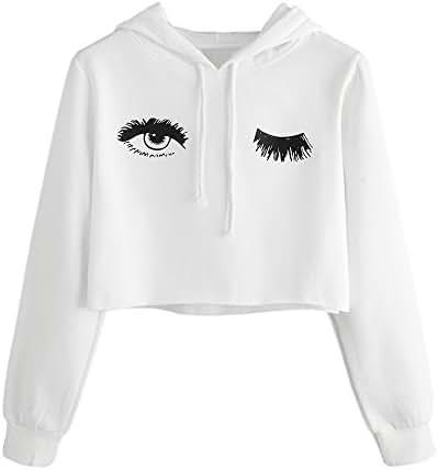 NOMUSING Womens Women's Fashion Casual Hoodie Eye Printed Sweatshirt Long Sleeve Pullover Drawstring Tops Blouse